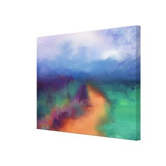 Landscape path in green, blue modern abstract canvas print