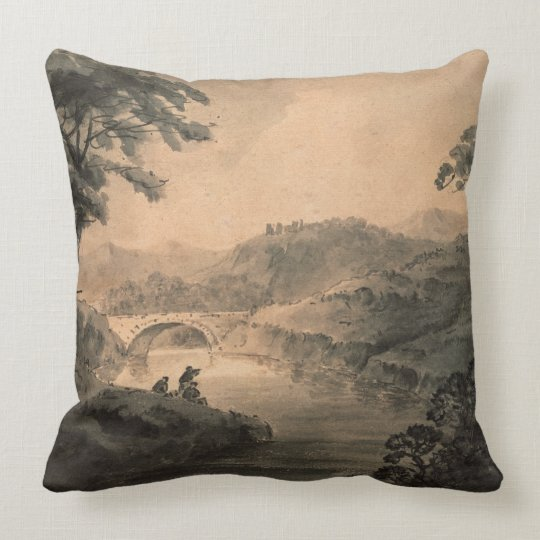 Landscape (pen & ink wash) throw pillow