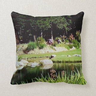 Landscape Pond Polyester Throw Pillow