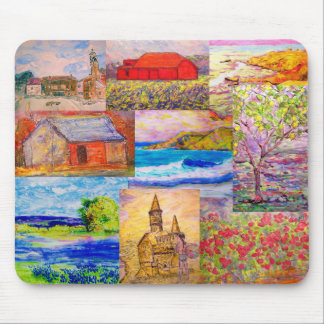 landscape pop art collage mouse pads