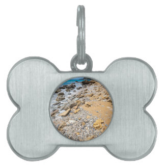 Landscape rocky coast Kefalonia Greece Pet ID Tag