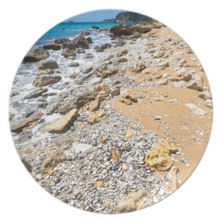 Landscape rocky coast Kefalonia Greece Plate