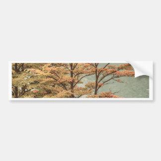 Landscape Scene Colored Trees at Glacier Lake Bumper Sticker