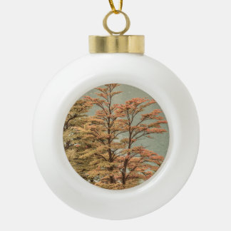 Landscape Scene Colored Trees at Glacier Lake Ceramic Ball Christmas Ornament