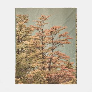 Landscape Scene Colored Trees at Glacier Lake Fleece Blanket