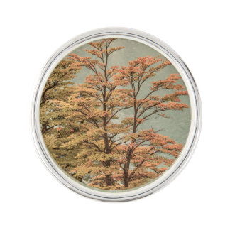 Landscape Scene Colored Trees at Glacier Lake Lapel Pin
