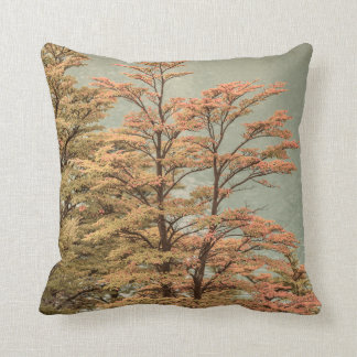 Landscape Scene Colored Trees at Glacier Lake Throw Pillow