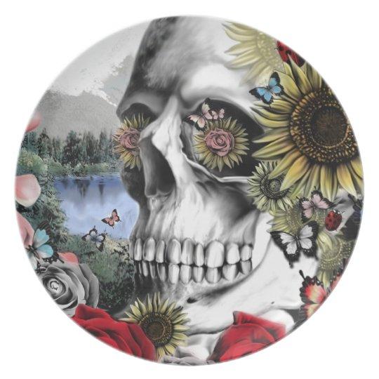 Landscape skull illustration plate