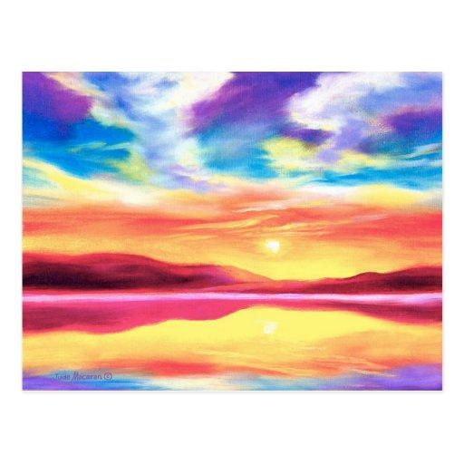 Landscape Sunset Lake Scene - Multi Postcards