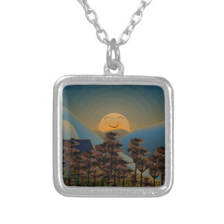 Landscape sunset silver plated necklace