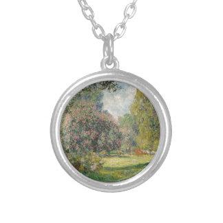 Landscape- The Parc Monceau - Claude Monet Silver Plated Necklace