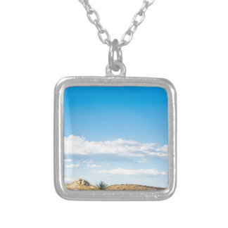 Landscape view to the mountain and sky silver plated necklace