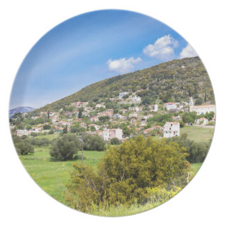 Landscape village with houses in Greek valley Dinner Plates