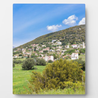 Landscape village with houses in Greek valley Plaque