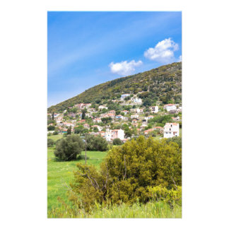 Landscape village with houses in Greek valley Stationery Design