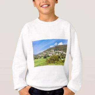 Landscape village with houses in Greek valley Sweatshirt