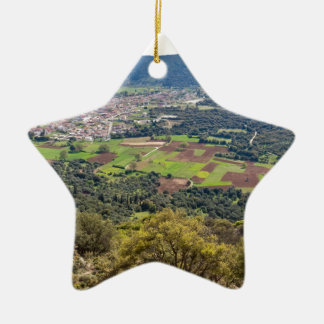 Landscape village with houses in valley of Greece Ceramic Ornament