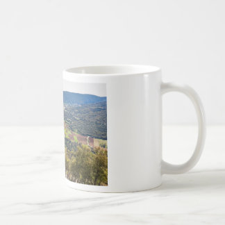 Landscape village with houses in valley of Greece Coffee Mug
