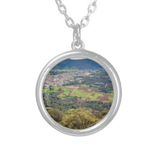 Landscape village with houses in valley of Greece Silver Plated Necklace