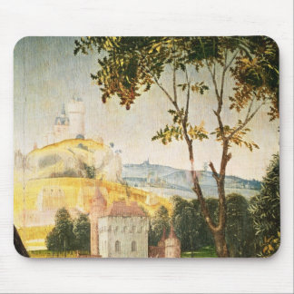 Landscape with castle in a moat and two swans mouse pad