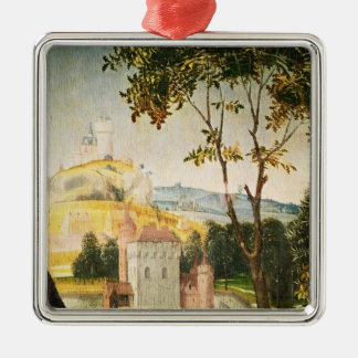 Landscape with castle in a moat and two swans Silver-Colored square ornament