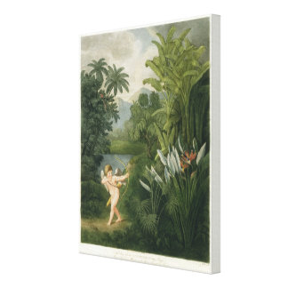 Landscape with Cupid aiming an arrow at a Parrot o Canvas Print