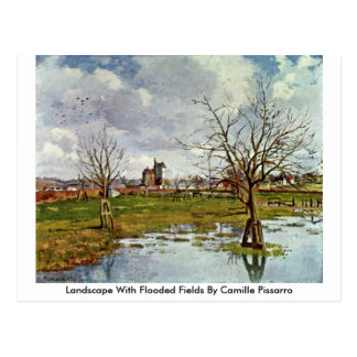Landscape With Flooded Fields By Camille Pissarro Postcard