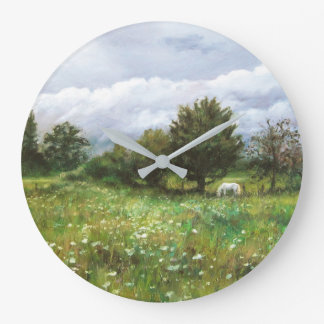 Landscape with flowered grass and white horse large clock
