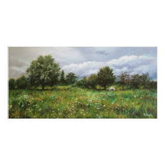 Landscape with flowered grass and white horse poster