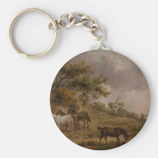 Landscape with Four Horses by George Morland Basic Round Button Keychain