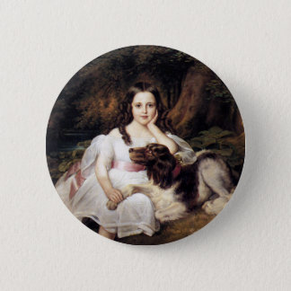 Landscape with Girl and Dog 2 Inch Round Button