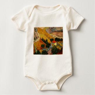 Landscape with House & Ploughman, Vincent Van Gogh Baby Bodysuit