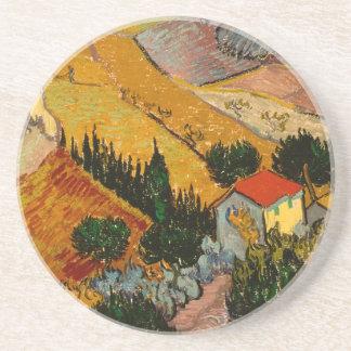 Landscape with House & Ploughman, Vincent Van Gogh Beverage Coasters