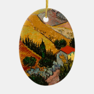 Landscape with House & Ploughman, Vincent Van Gogh Ceramic Ornament