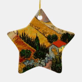 Landscape with House & Ploughman, Vincent Van Gogh Ceramic Star Ornament