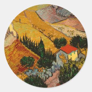 Landscape with House & Ploughman, Vincent Van Gogh Classic Round Sticker