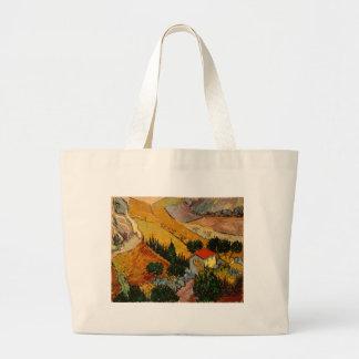 Landscape with House & Ploughman, Vincent Van Gogh Large Tote Bag
