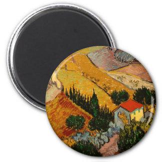 Landscape with House & Ploughman, Vincent Van Gogh Magnet