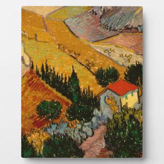 Landscape with House & Ploughman, Vincent Van Gogh Plaque