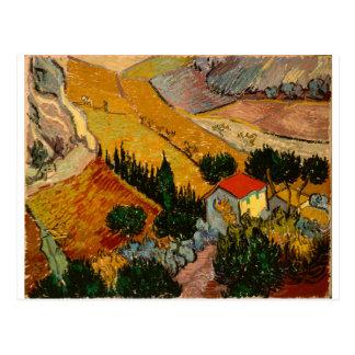 Landscape with House & Ploughman, Vincent Van Gogh Postcard