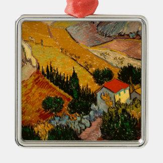 Landscape with House & Ploughman, Vincent Van Gogh Silver-Colored Square Ornament