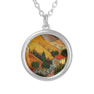 Landscape with House & Ploughman, Vincent Van Gogh Silver Plated Necklace