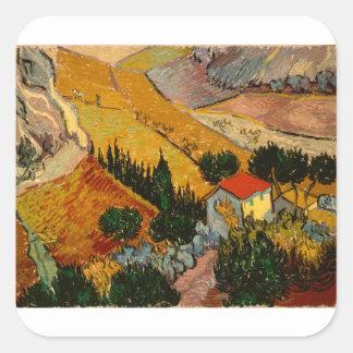 Landscape with House & Ploughman, Vincent Van Gogh Square Sticker