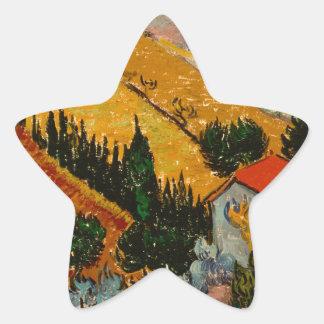 Landscape with House & Ploughman, Vincent Van Gogh Star Sticker