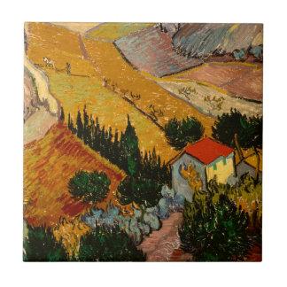 Landscape with House & Ploughman, Vincent Van Gogh Tile