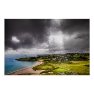 Landscape with light beam onto golf course poster