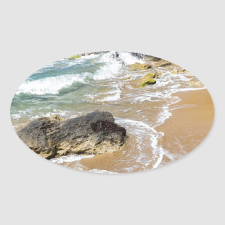 Landscape with mountain rocks and sea oval sticker