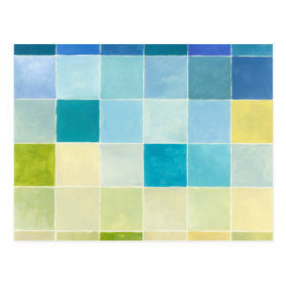 Landscape with Multicolored Pixilated Squares Postcard