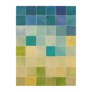 Landscape with Multicolored Pixilated Squares Wood Wall Art