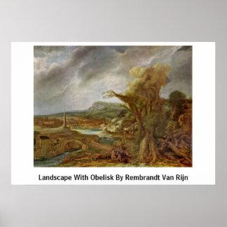 Landscape With Obelisk By Rembrandt Van Rijn Poster